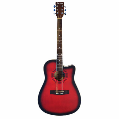 "De Rosa 41"" Inch Cutaway Acoustic Electric Guitar Red with 4 EQ"