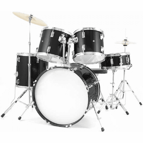 De Rosa Adult Full Size 5 Piece Black Drum Sets
