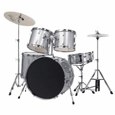De Rosa Adult Full Size 5 Piece Silver Drum Sets