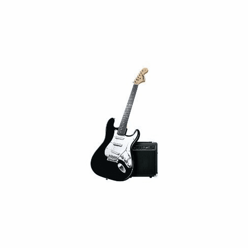 Fender Starcaster Strat Ebony Black Full Size Electric Guitar and Amplifier Pack