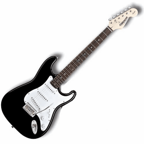 Fender Strat Starcaster Black Full Size Electric Guitar Ebony