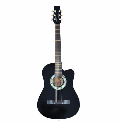"Fret 38"" Inch Acoustic Cutaway Guitar - Black"