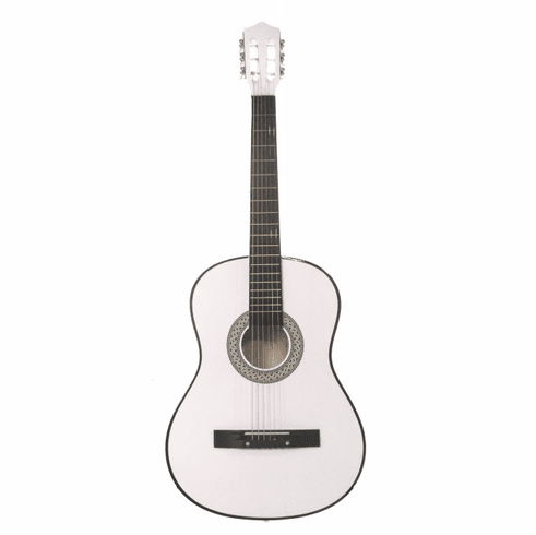 """Fret 38"""" Inch White Student Acoustic Guitar"""