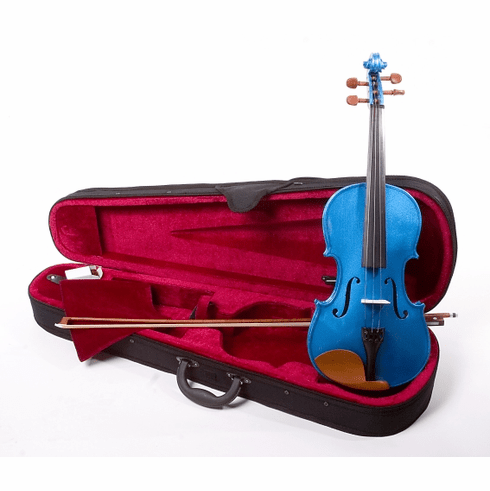 Full Size 4/4 Dark Blue Violin Fiddle With Case And Bow