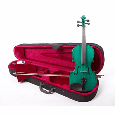 Full Size 4/4 Green Violin Fiddle With Case And Bow