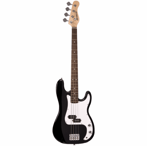 Full Size 4 String Black Precision P Electric Bass Guitar with Gig Bag and Accessories