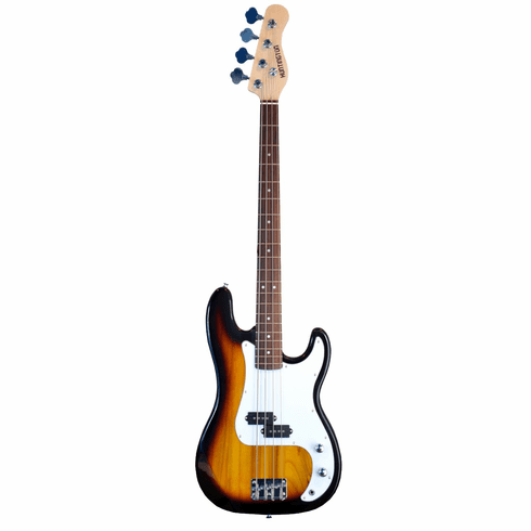 Full Size 4 String Sunburst Precision P Electric Bass Guitar with Gig Bag and Accessories