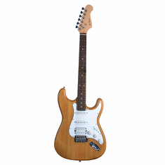 "Glen Burton 39"" Inch NATURAL Double Humbucker Full Size Electric Guitar [Fat Strat� Style]"