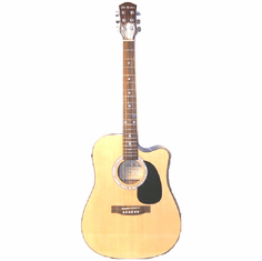 Glen Burton 41 Inch Full Size Natural Cutaway Acoustic Electric Guitar with 4 Band Eq System