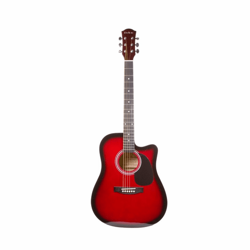 Glen Burton 41 Inch Full Size Red Cutaway Acoustic Electric Guitar with 4 Band Eq System