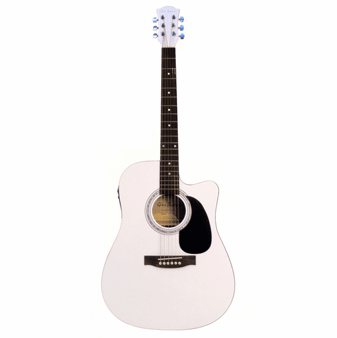 Glen Burton 41 Inch Full Size White Cutaway Acoustic Electric Guitar with 4 Band Eq System