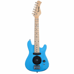 """Huntington 30"""" Inch Kids Electric Guitar with Built in Amp - Light Blue"""