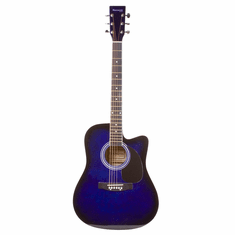"""Huntington 41"""" Inch Blue Handcrafted Steel String Cutaway Acoustic Guitar"""