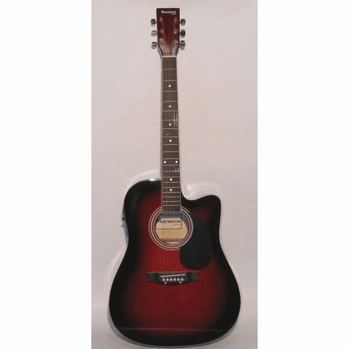 "Huntington 41"" Inch Cutaway Acoustic Electric Guitar Wine Red Burst"