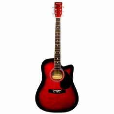 """Huntington 41"""" Inch Red Burst Handcrafted Steel String Cutaway Acoustic Guitar"""