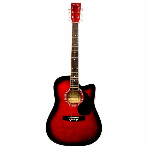 "Huntington 41"" Inch Red Burst Handcrafted Steel String Cutaway Acoustic Guitar"