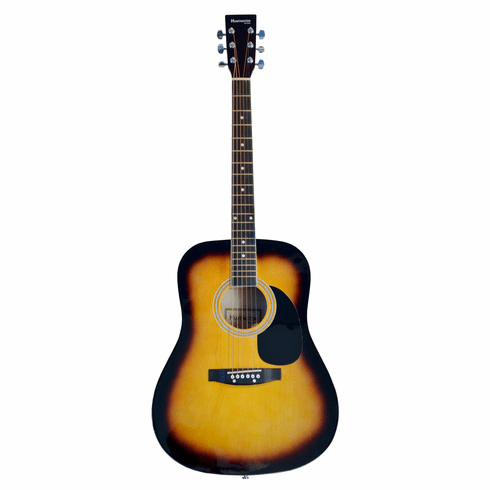 Huntington Full Size Sunburst Dreadnought Student Acoustic Guitar with Free Carrying Bag and Accessories (Guitar, Case, Strap, Extra Strings)