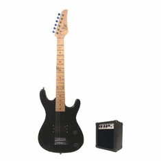 Junior Black Kids Mini 3/4 Size Electric Guitar and Amplifier Starter Pack