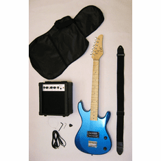 Junior Metallic Blue Kids Mini 3/4 Size Electric Guitar and Amplifier Starter Pack