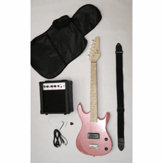 Junior Metallic Pink Kids Mini 3/4 Size Electric Guitar Amp Starter Pack