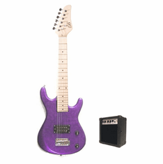 Junior Purple Kids Mini 3/4 Size Electric Guitar and Amplifier Starter Pack