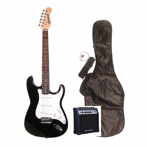 """Outlaw by Huntington 39"""" Inch Full Size Black Electric Guitar with 10 Watt Amp Package"""