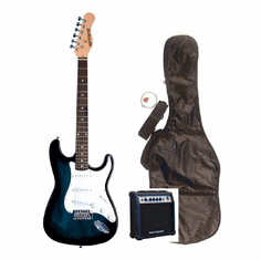 "Outlaw by Huntington 39"" Inch Full Size Blue Electric Guitar with 10 Watt Amp Package"