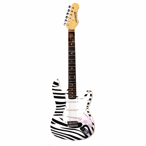"Outlaw by Huntington 39"" Inch Full Size Electric Guitar Zebra"