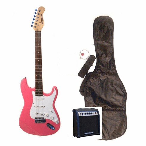 """Outlaw by Huntington 39"""" Inch Full Size Metallic Pink Electric Guitar with 10 Watt Amp Package"""