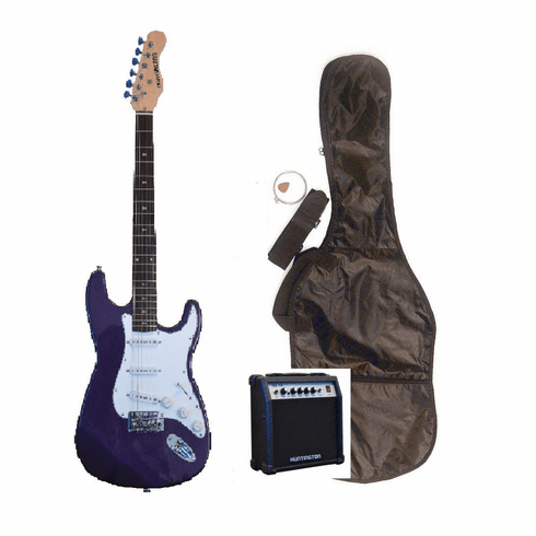 """Outlaw by Huntington 39"""" Inch Full Size Metallic Purple Electric Guitar with 10 Watt Amp Package"""