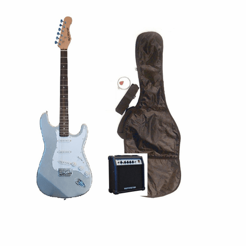 """Outlaw by Huntington 39"""" Inch Full Size Metallic Silver Electric Guitar with 10 Watt Amp Package"""