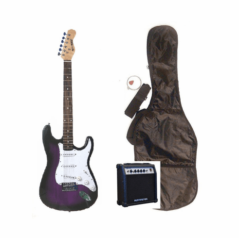 """Outlaw by Huntington 39"""" Inch Full Size Purple Electric Guitar with 10 Watt Amp Package"""