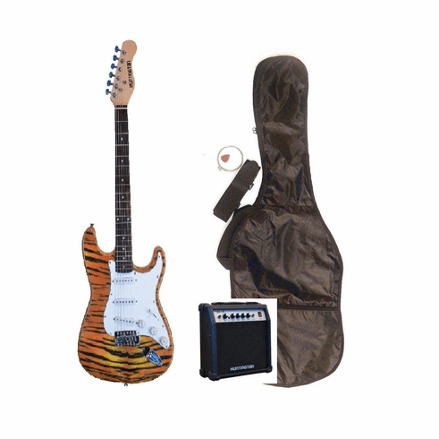 """Outlaw by Huntington 39"""" Inch Full Size Tiger Electric Guitar with 10 Watt Amp Package"""