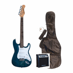 "Outlaw by Huntington 39"" Inch Full Size Translucent Blue Electric Guitar with 10 Watt Amp Package"