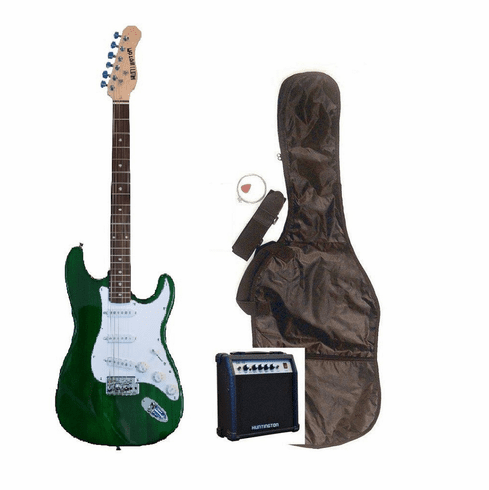 "Outlaw by Huntington 39"" Inch Full Size Translucent Green Electric Guitar with 10 Watt Amp Package"