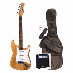 "Outlaw by Huntington 39"" Inch Full Size Translucent Natural Electric Guitar with 10 Watt Amp Package"