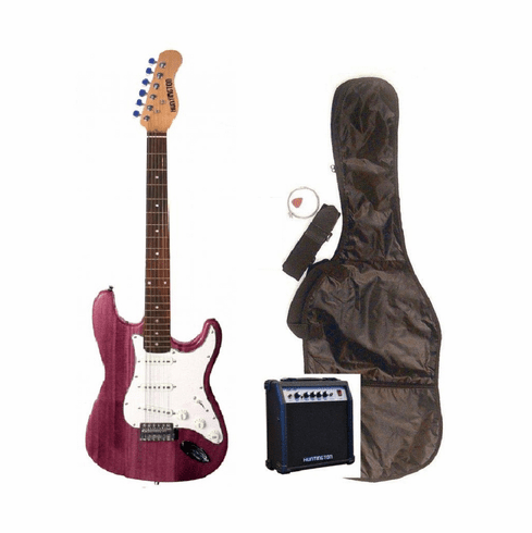 """Outlaw by Huntington 39"""" Inch Full Size Translucent Purple Electric Guitar with 10 Watt Amp Package"""