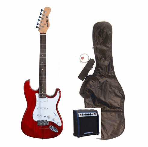 "Outlaw by Huntington 39"" Inch Full Size Translucent Red Electric Guitar with 10 Watt Amp Package"