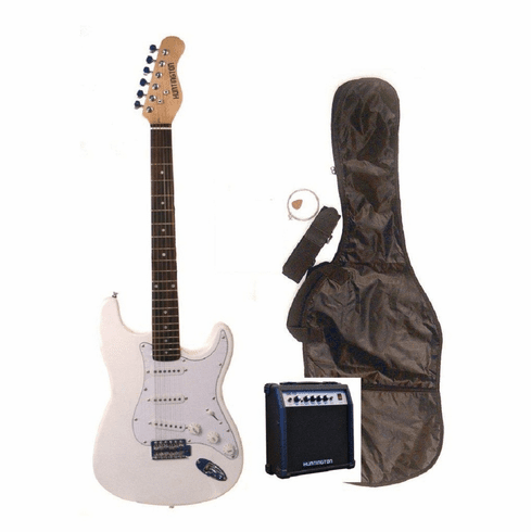 """Outlaw by Huntington 39"""" Inch Full Size White Electric Guitar with 10 Watt Amp Package"""