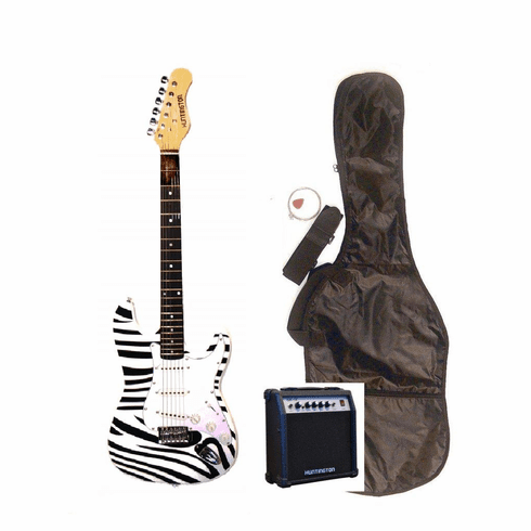 "Outlaw by Huntington 39"" Inch Full Size Zebra Electric Guitar with 10 Watt Amp Package"