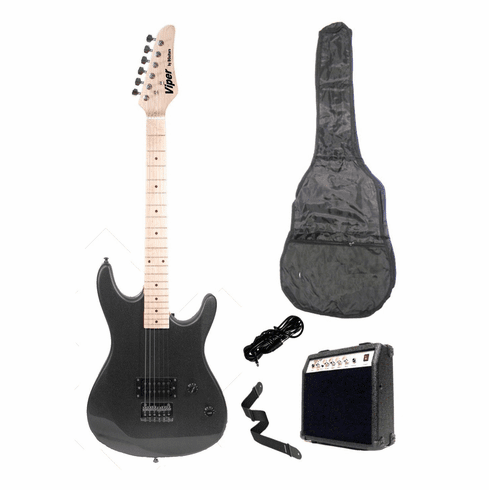 "Viper 39"" Inch Full Size Black Ebony Electric Guitar with 10 Watt Amp Package"