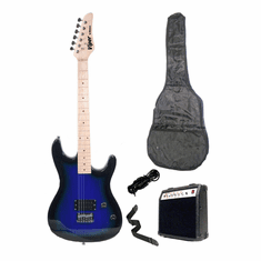 "Viper 39"" Inch Full Size Blue Electric Guitar with 10 Watt Amp Package"