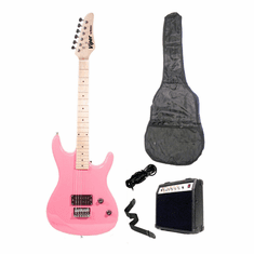 "Viper 39"" Inch Full Size Metallic Pink Electric Guitar with 10 Watt Amp Package"