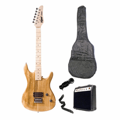 "Viper 39"" Inch Full Size Natural Electric Guitar with 10 Watt Amp Package"