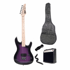"Viper 39"" Inch Full Size Purple Electric Guitar with 10 Watt Amp Package"