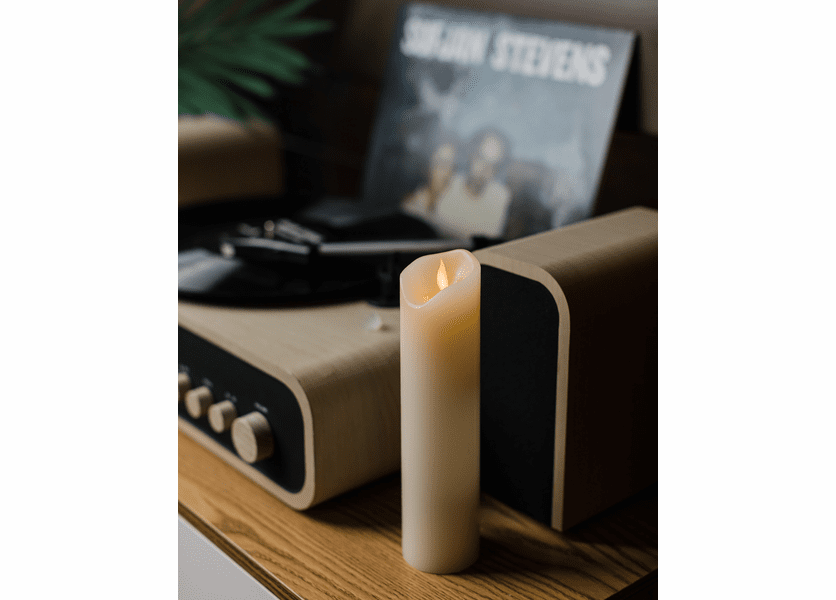 """2""""D x 8""""H Wax Wavy Edge Motion Flame LED Candle by The Lamp Stand"""