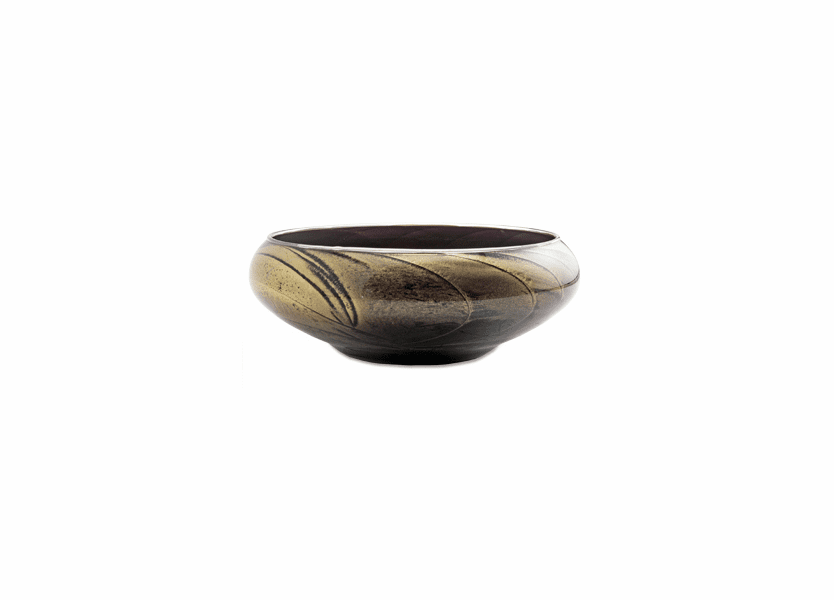 "8"" Ebony Polished Bowl 4 Wick Scented Candle"