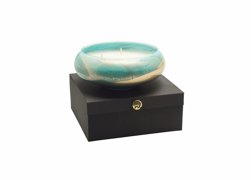 """8"""" Turquoise Polished Bowl 4 Wick Scented Candle"""