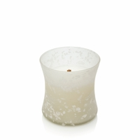 CLOSEOUT - Amber & Incense First Frost Frosted Mini Hourglass WoodWick Candle