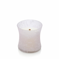CLOSEOUT - Black Plum Cognac First Frost Frosted Mini Hourglass WoodWick Candle